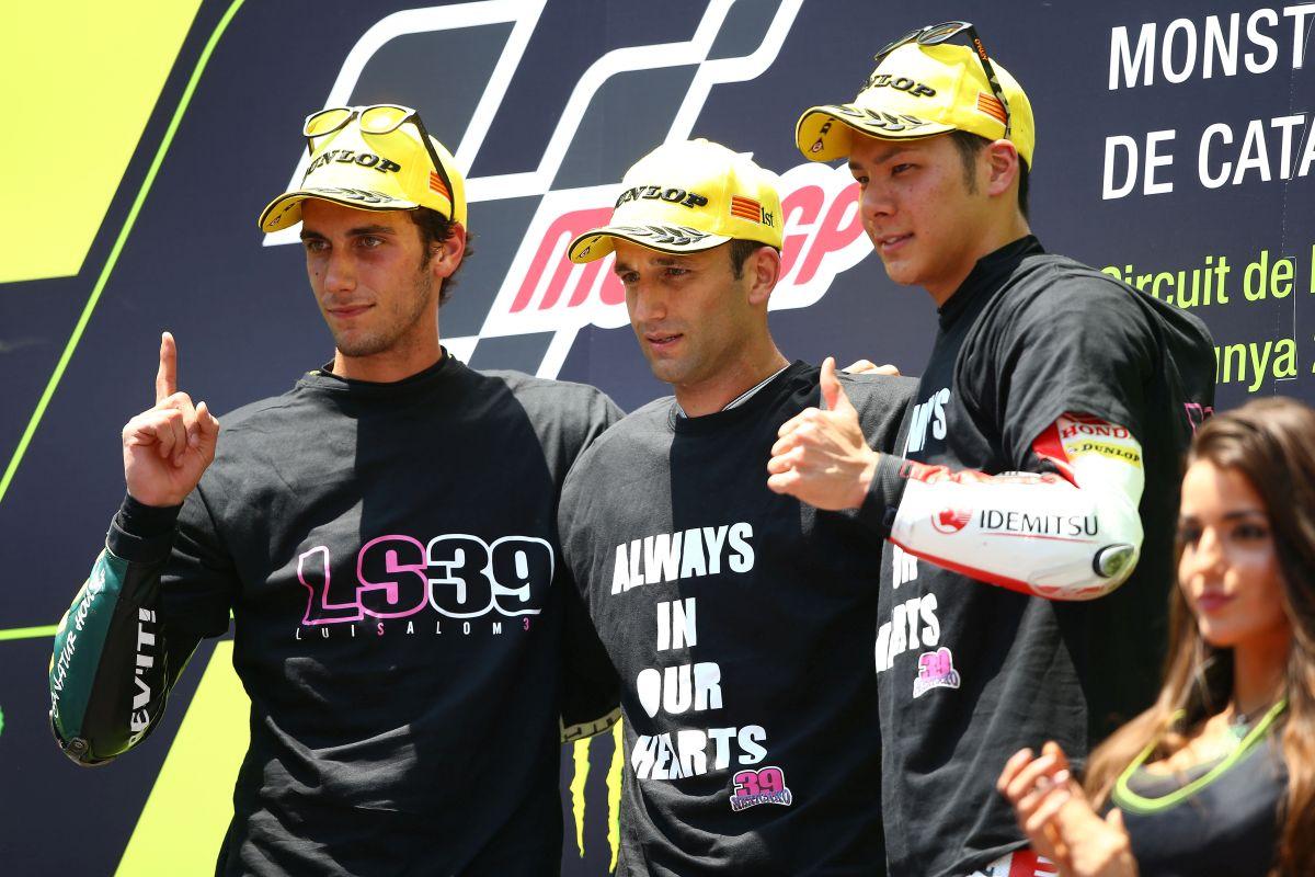 Zarco, Rins y Nakagami en el Pódium del Gran Premi de Catalunya