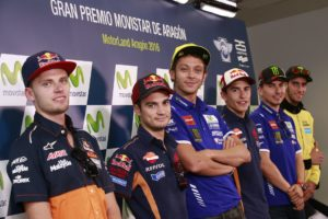 Brad Binder, Dani Pedrosa, Valentino Rossi, Marc Márquez y Jorge Lorenzo - Foto: © Dpto. Prensa MotoGp