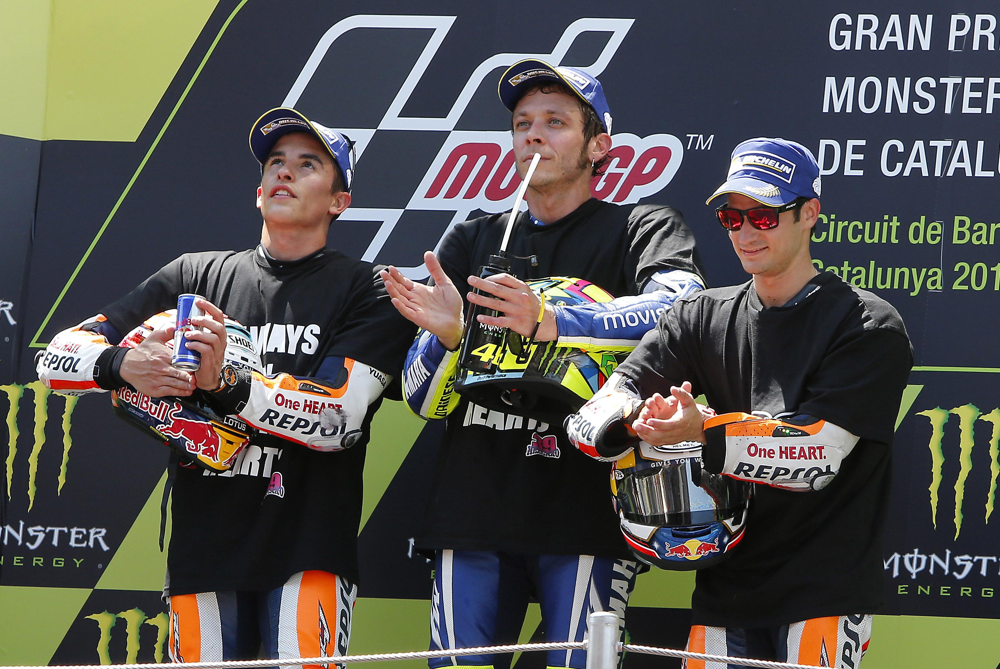 Rossi, Márquez y Pedrosa en el pódium del Gran Premio de Catalunya de MotoGp