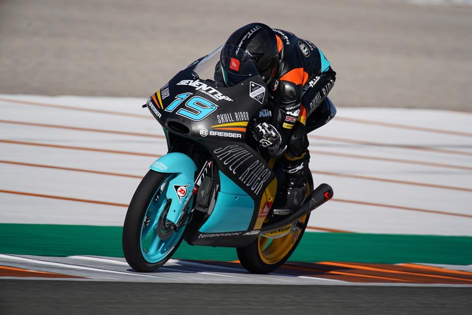 Gabriel Rodrigo durante la segunda jornada de test de Moto3 en Valencia