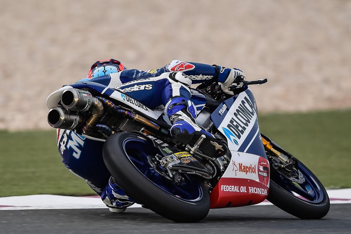 Jorge Martín durante el Gran Premio de Qatar de Moto3 2018