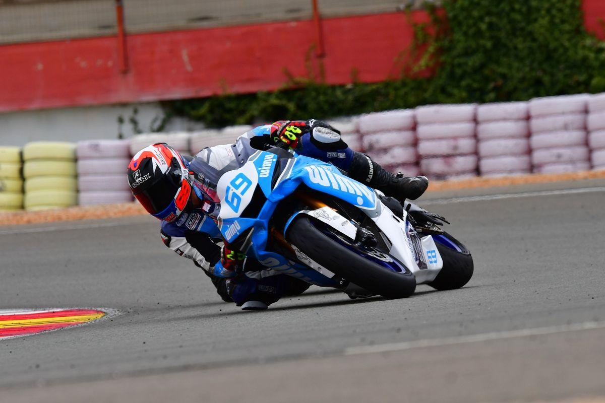 Javier Orellana durante la carrera de Superstock 600 del RFME CEV en Albacete
